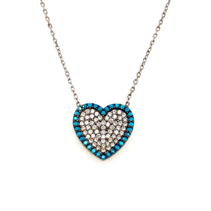Sterling silver Turquoise cz heart pendant - Red Carpet Jewellers