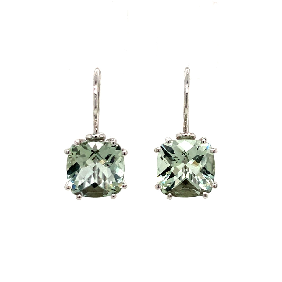 9ct white gold Green Amethyst earrings - Red Carpet Jewellers