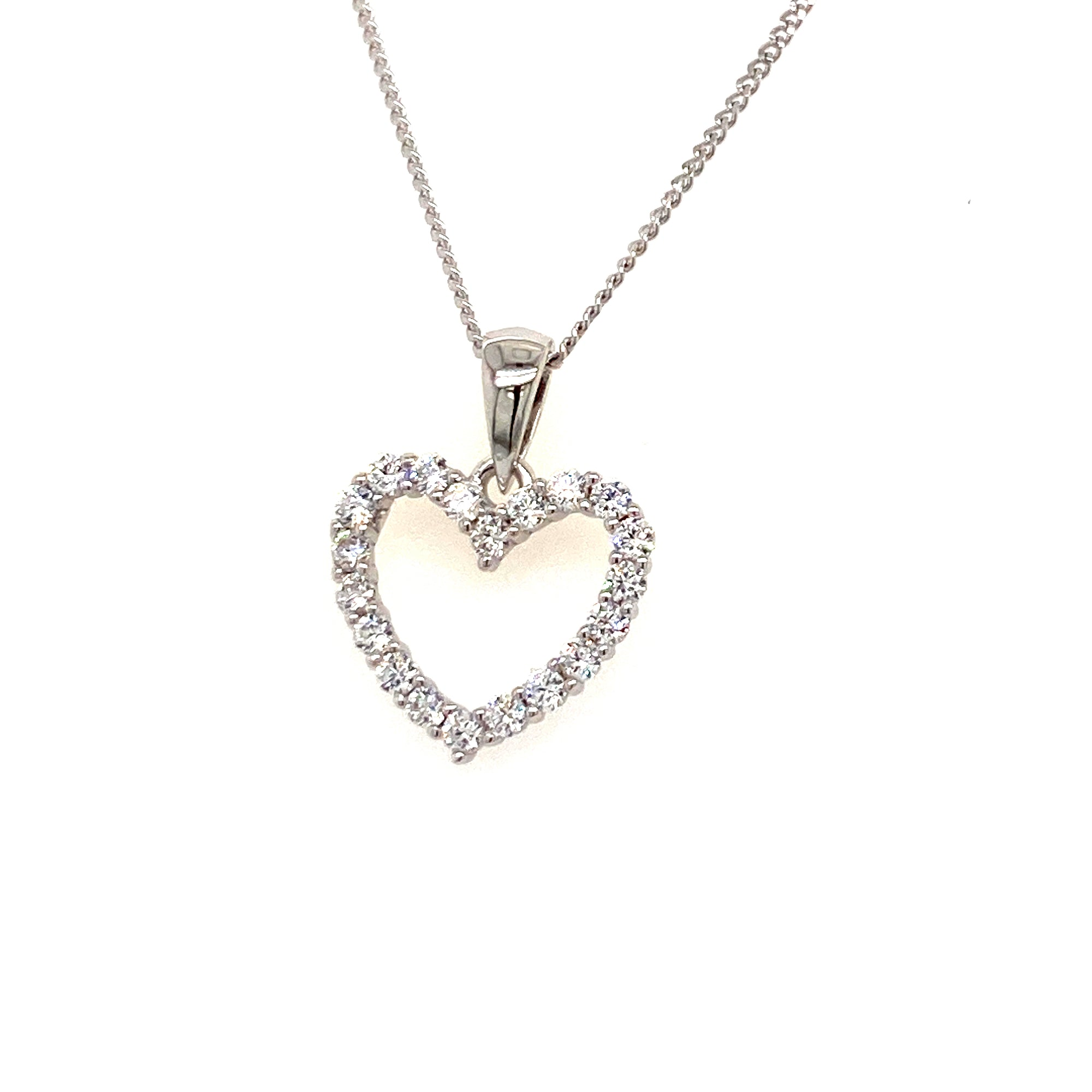 Sterling silver cz heart pendant - Red Carpet Jewellers