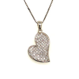 Sterling silver pave heart - Red Carpet Jewellers