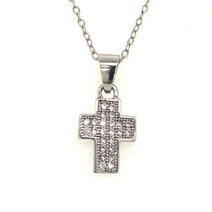 Small sterling silver cz cross - Red Carpet Jewellers