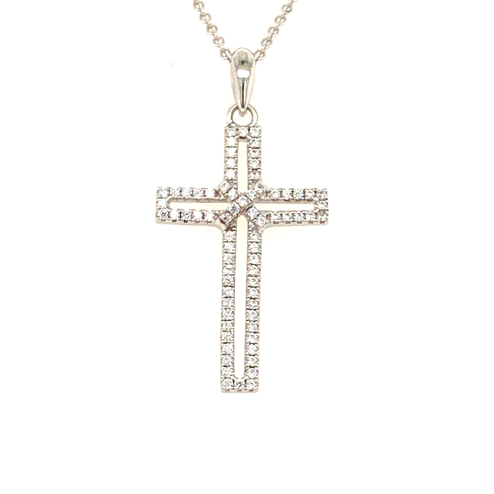 Sterling silver cz cross - Red Carpet Jewellers