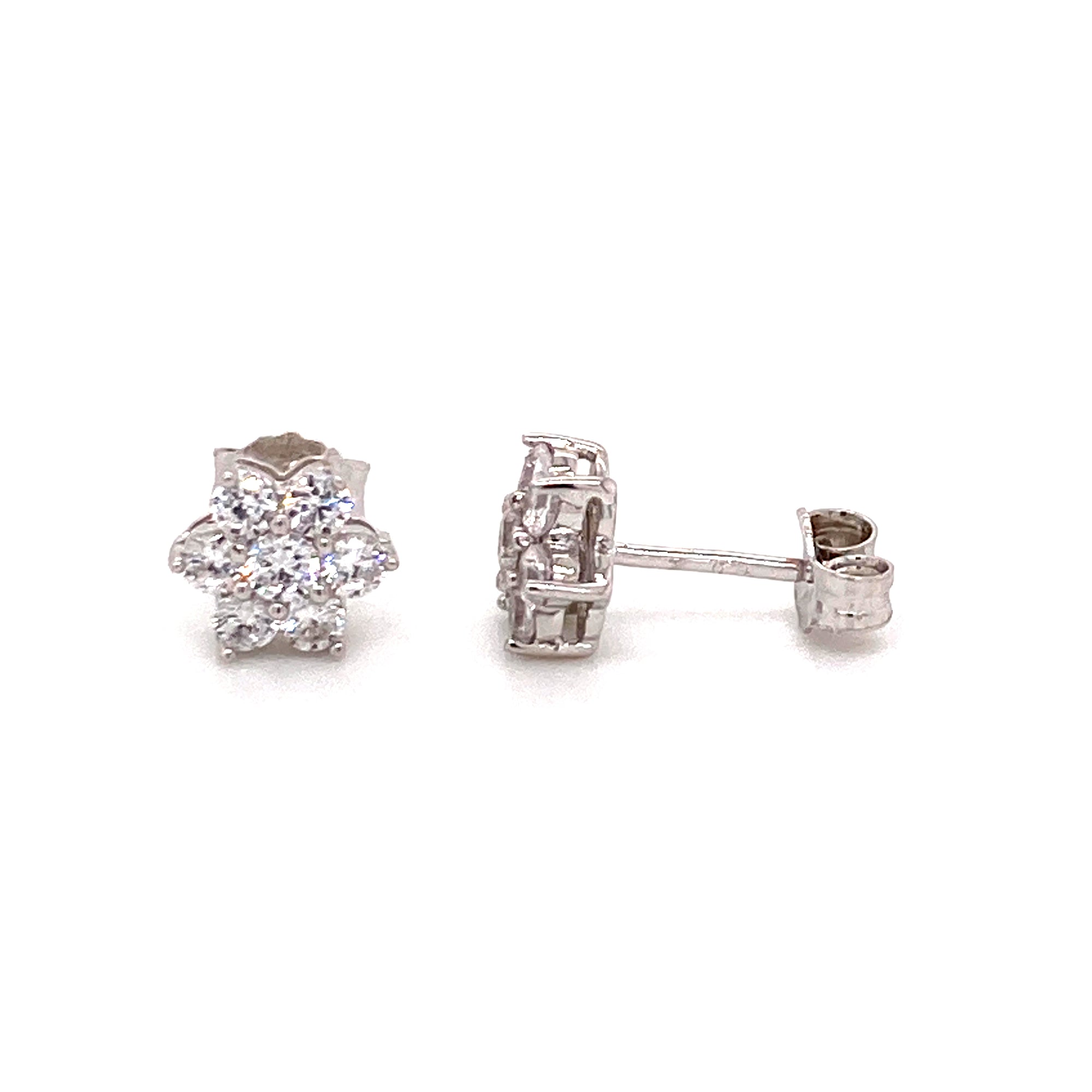 Sterling silver cz cluster studs - Red Carpet Jewellers