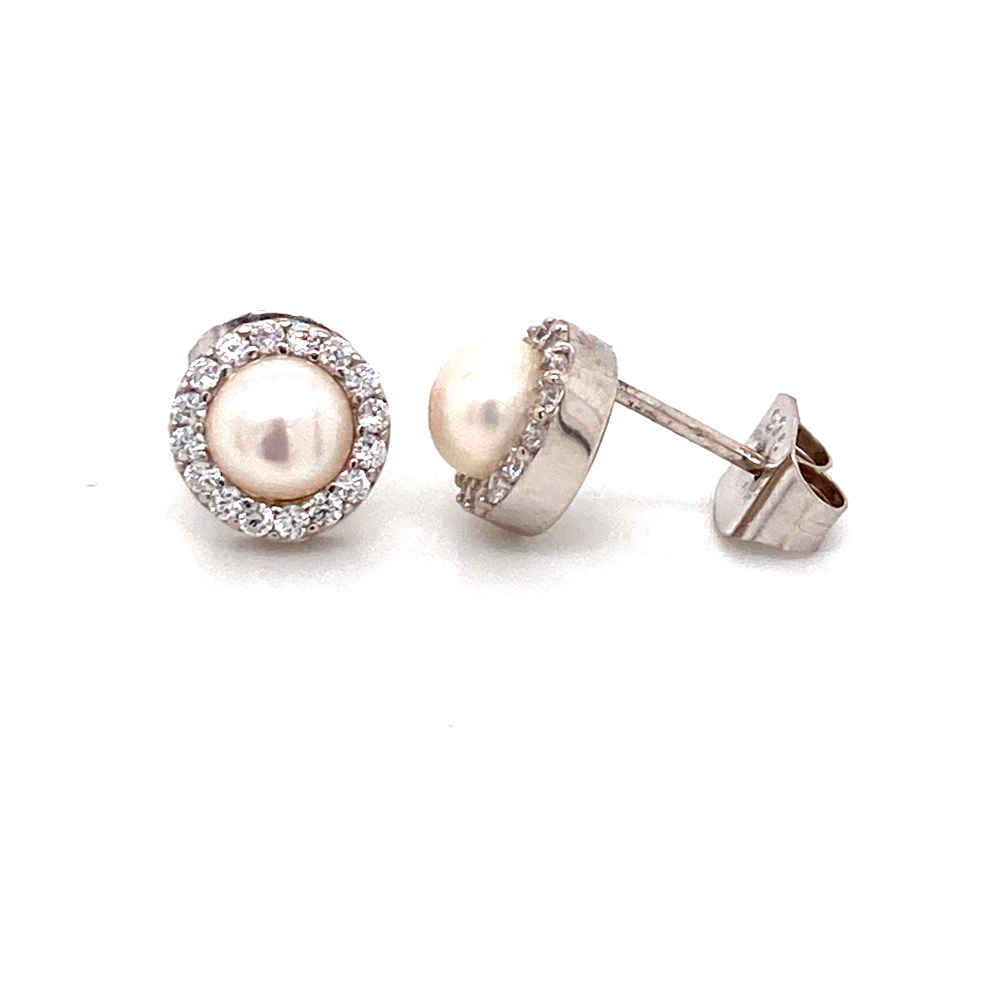 Sterling silver pearl cz stud earrings - Red Carpet Jewellers