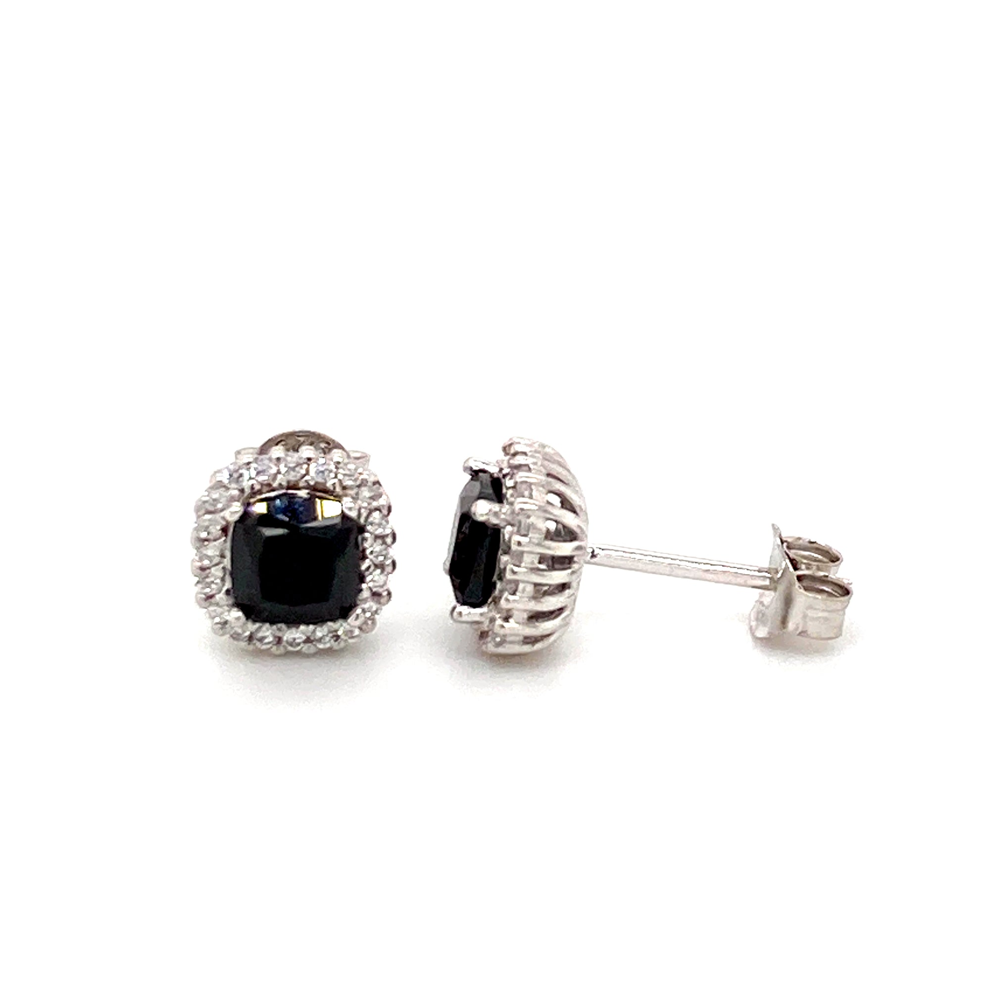 Sterling silver Black cz stud earrings - Red Carpet Jewellers