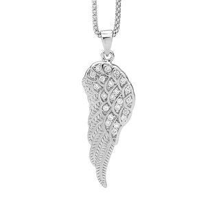 STERLING SILVER CZ ANGEL WING PENDANT
