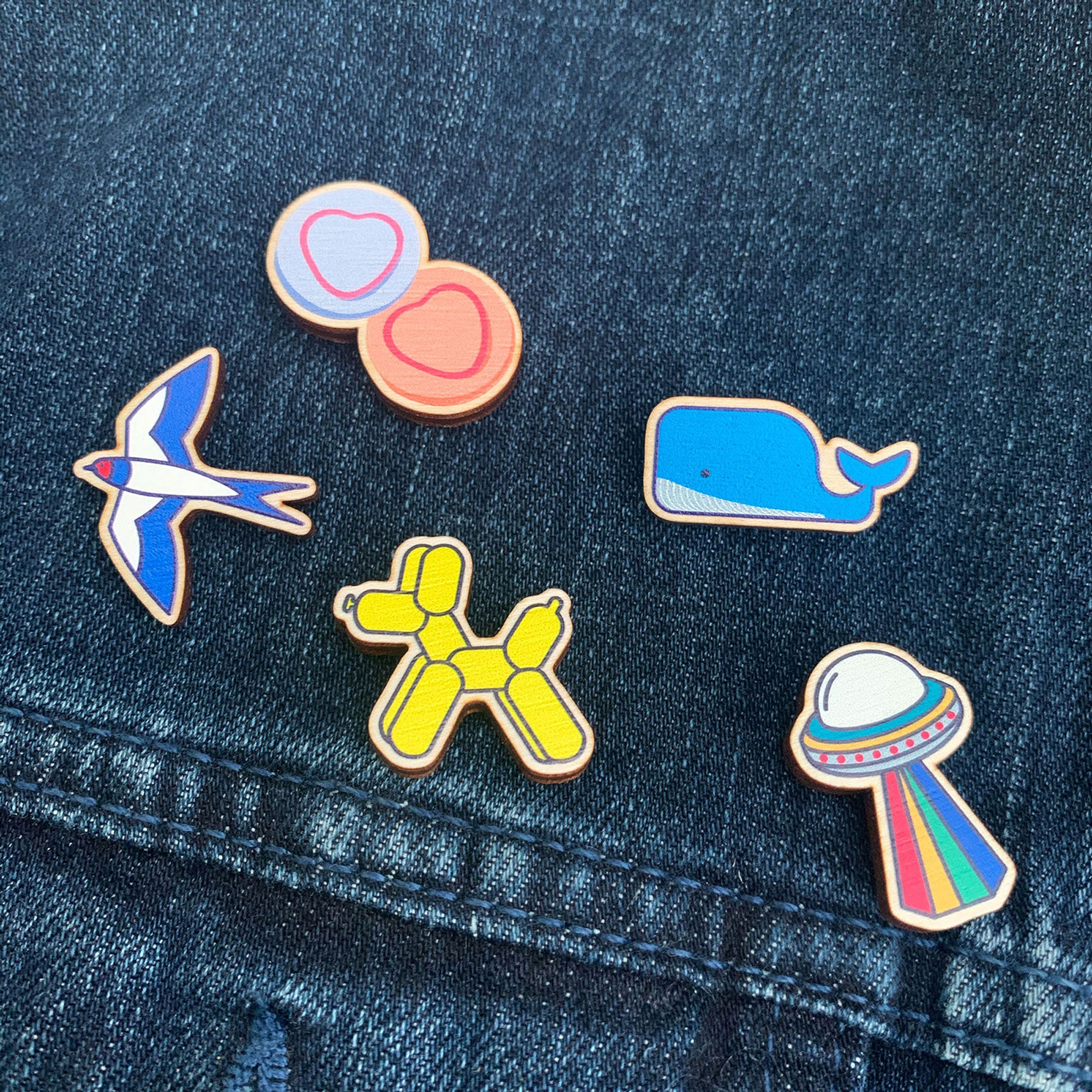 wooden pin badges