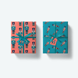 'Ivan and Drummer' Nutcrackers — Festive Wrapping Paper and Gift Tags Set