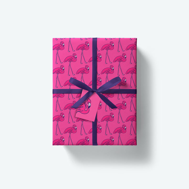 Flamingo — Flock Series — Wrapping Paper and Gift Tag Set
