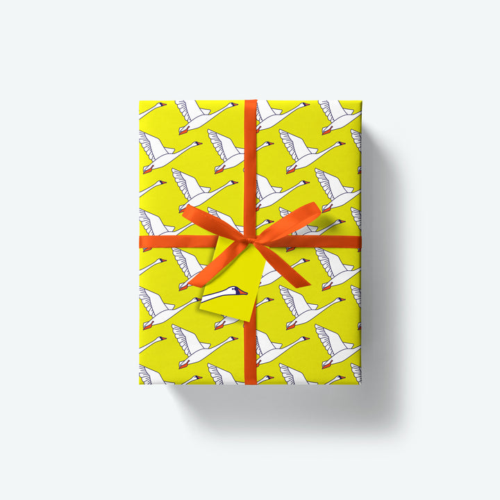 Swan — Flock Series — Wrapping Paper and Gift Tag Set