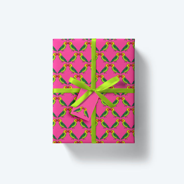 Lovebirds — Flock Series — Wrapping Paper and Gift Tag Set