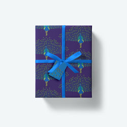 Peacock — Flock Series — Wrapping Paper and Gift Tag Set