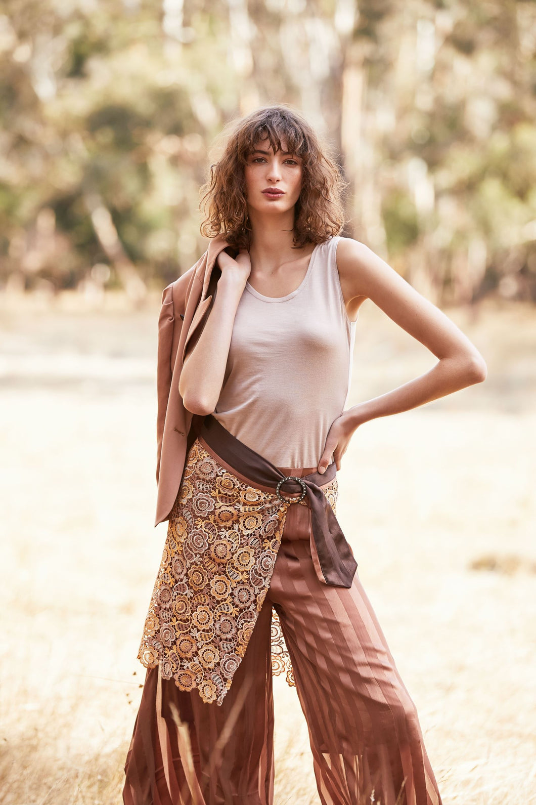 M. A. Dainty Karl Lace Layer Skirt Brown