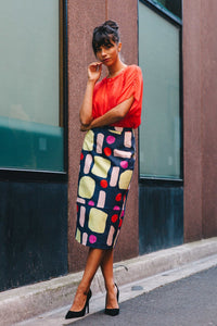 Devoi Vivien Skirt Mixed Signals Print