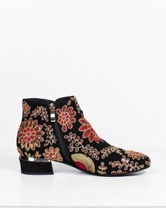 Django & Juliette Gary Black-Gold-Red Suede