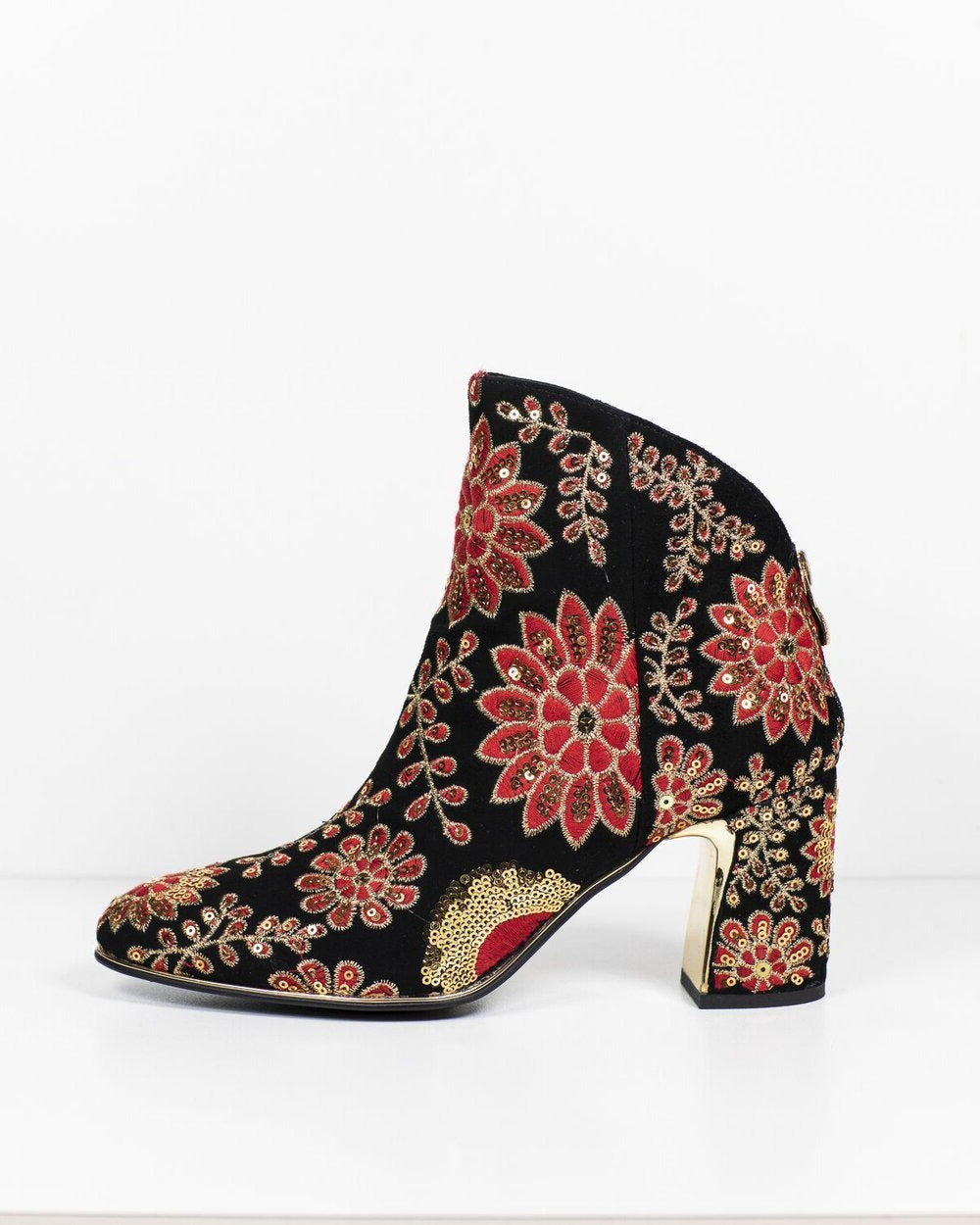 Django & Juliette Karen Black-Gold-Red Suede