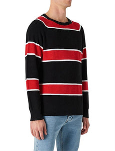Neuw Denim Syngle Linen Knit Red Black Stripe