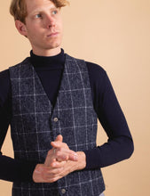 Load image into Gallery viewer, James Harper Windowpane Check Waistcoat Navy