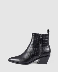 Siren North Black Croc Leather