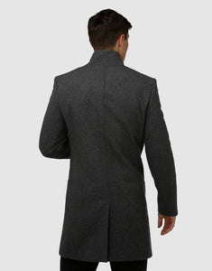 Brooksfield Sleek Long-line Overcoat Charcoal