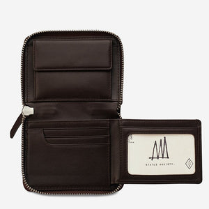 Status Anxiety Darius Wallet in Chocolate Leather
