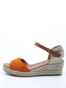 Django & Juliette Suzy Orange Suede Light Tan Leather