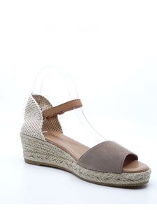 Django & Juliette Suzy Taupe Suede Light Tan Leather