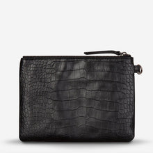 Load image into Gallery viewer, Status Anxiety Fixation Clutch Black Croc Leather