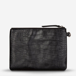 Status Anxiety Fixation Clutch Black Croc Leather