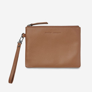 Status Anxiety Fixation Clutch Tan Leather