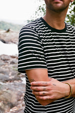 Load image into Gallery viewer, Hemp Clothing Australia Stripe T-Shirt Black/White