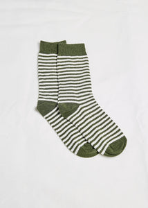 Hemp Australia Daily Socks Olive/White Stripe