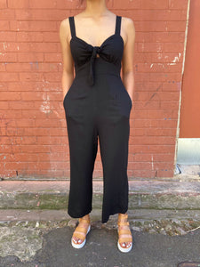Sunny Girl Knotted Jumpsuit Black