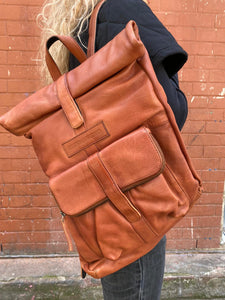 Sticks & Stones Messenger Backpack Cognac