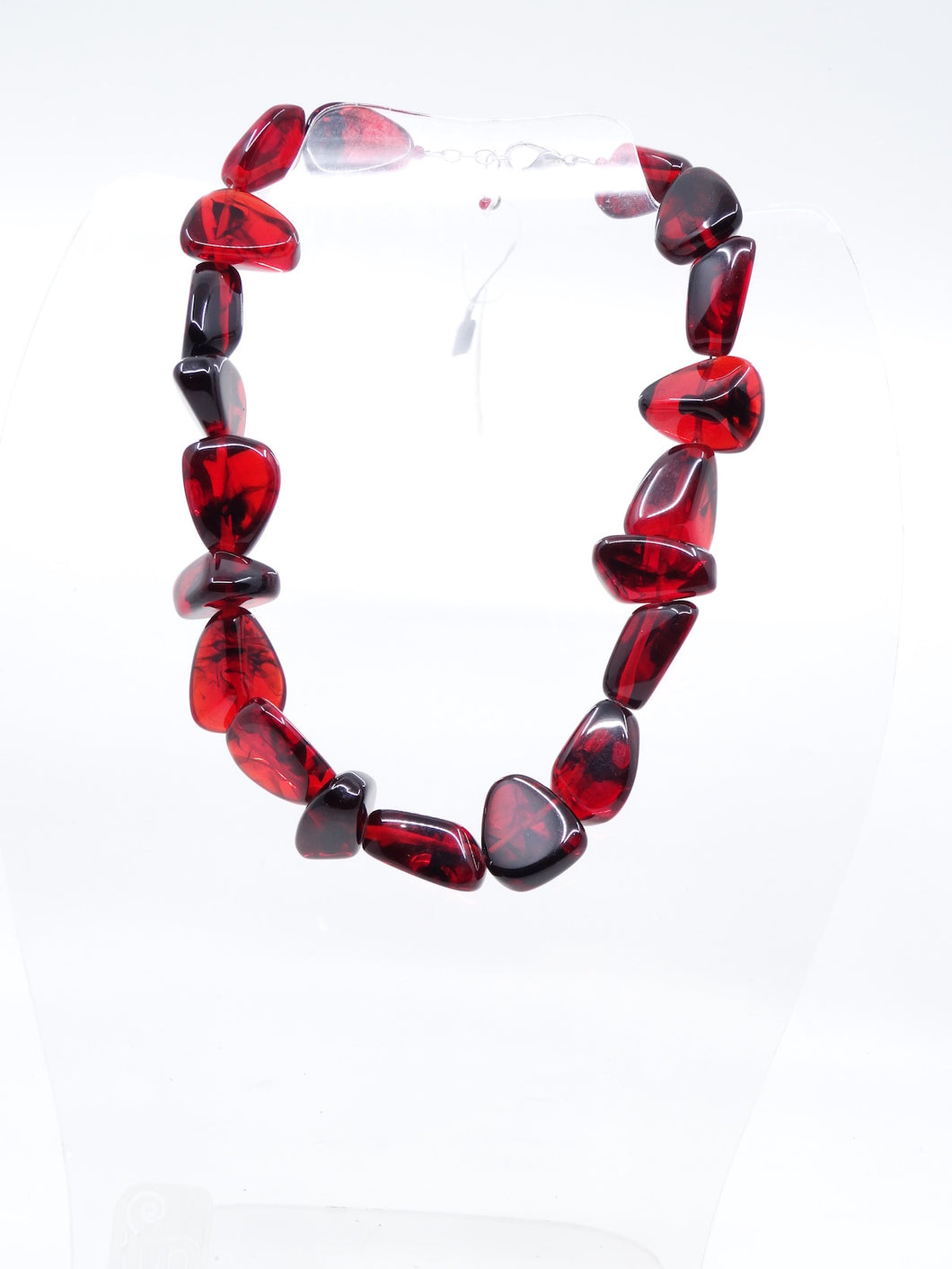 Jackie Brazil Short Blood Red Mixed Pebble Necklace