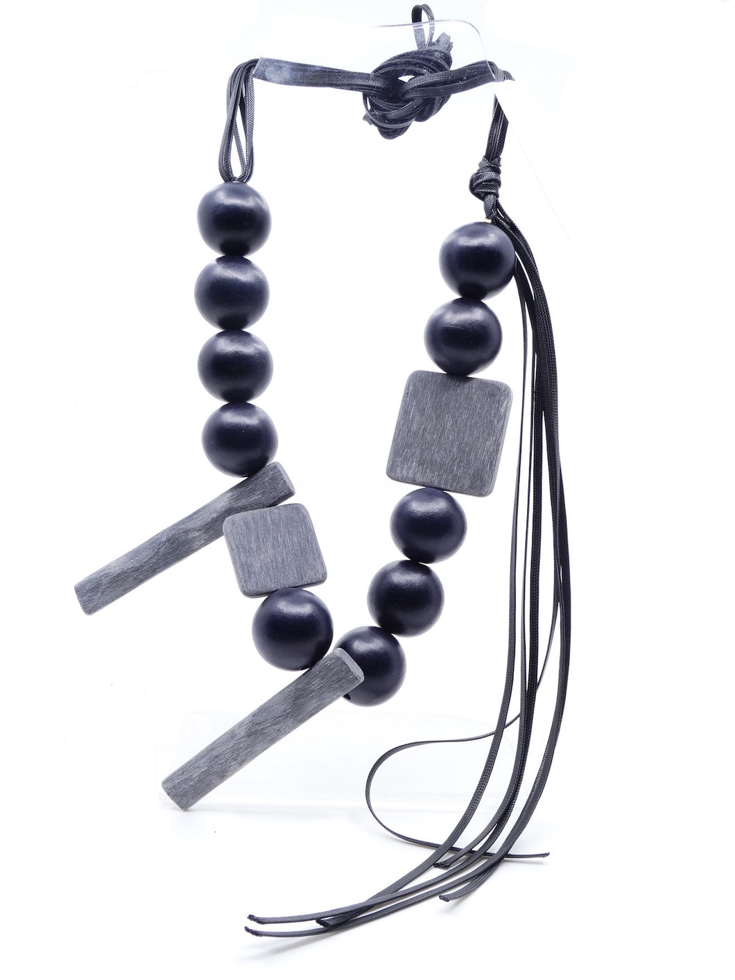 Katerina Vassou One Bead Layer Wooden Necklace Black