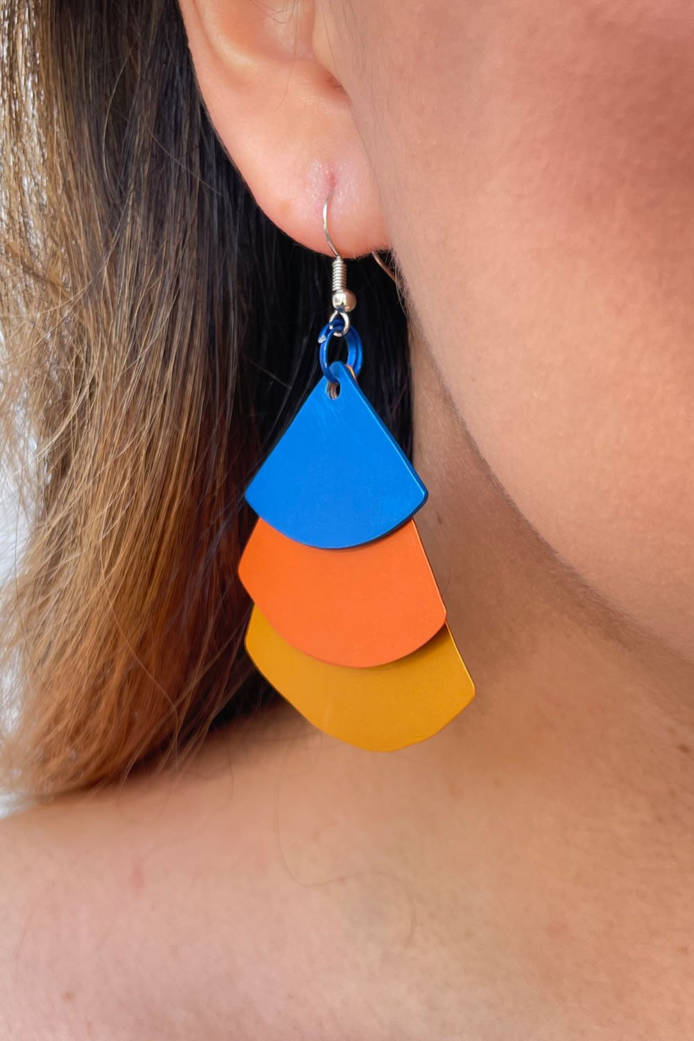 Monica Krexa Tri Fan Earrings Blue/Orange/Saffron