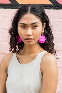 Monica Krexa Tri Fan Earrings Hot Pink