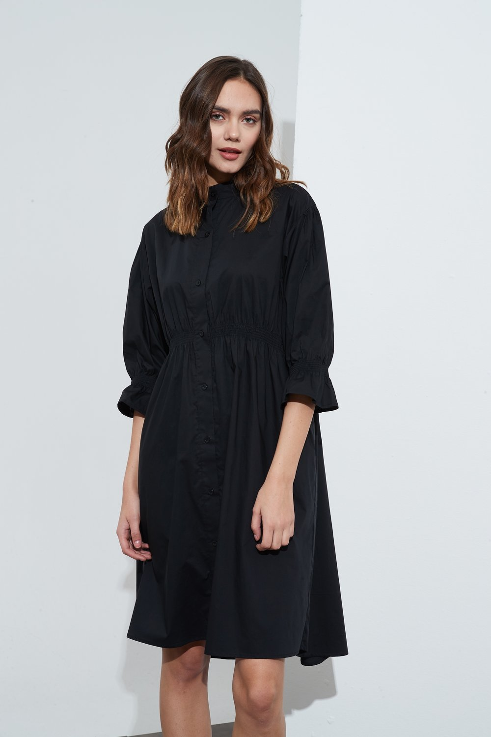 Tirelli Shirring Detail Dress Black