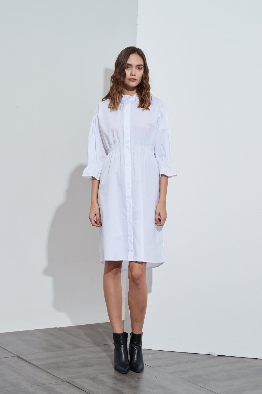 Tirelli Shirring Detail Dress White