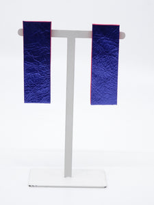 Smena Rectangle Blue Leather Earrings