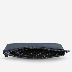 Status Anxiety Fixation Clutch Navy Leather