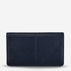 Status Anxiety Triple Threat Wallet Navy Blue Leather