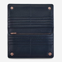Load image into Gallery viewer, Status Anxiety Triple Threat Wallet Navy Blue Leather
