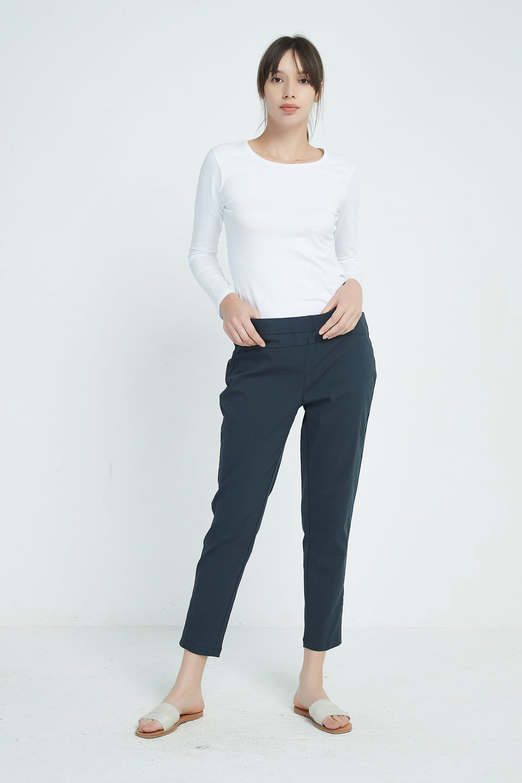 Tirelli Straight Cropped Pant Navy