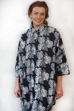 Load image into Gallery viewer, Tradition Textiles Hidden Fern Trail Shirt Dress Navy/Grey