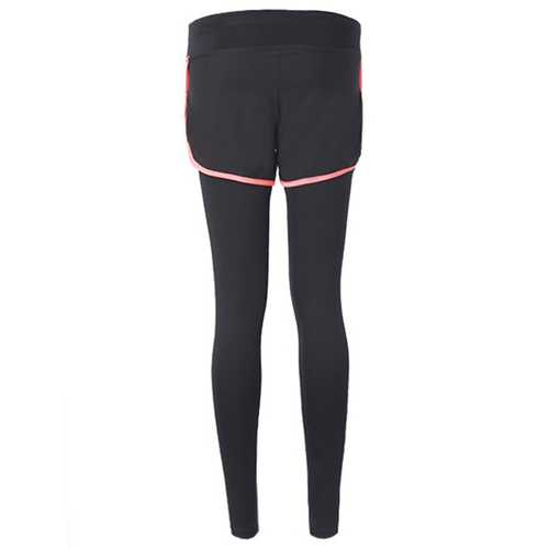 Women Fitness Yoga Workout Leisure Elastic False Two-piece Ninth Pants Leggings Sportswear