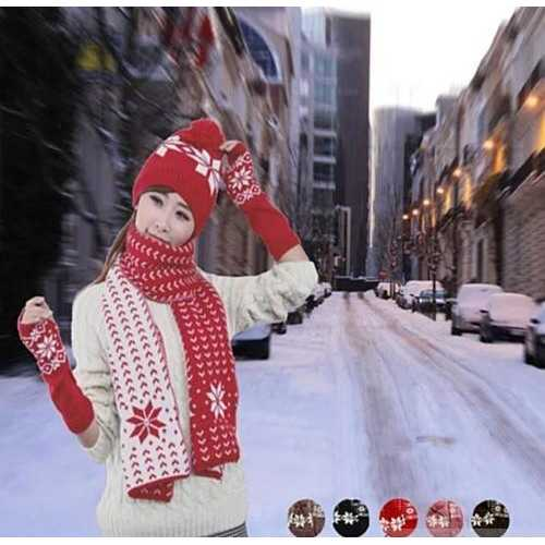 Snow Angel 3 pc XMas Set of Scarf, Hat And Gloves In 2 Tones