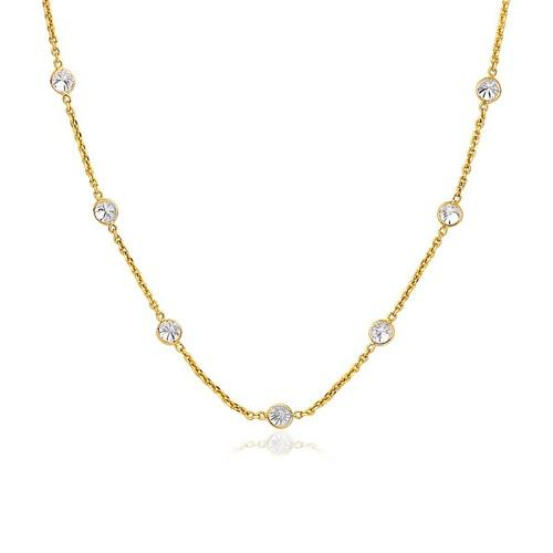 14k Yellow Gold CZ By the Yard Long Links, size 16''