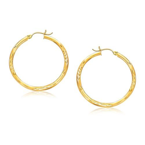 14k Yellow Gold Fancy Diamond Cut Hoop Earrings (35mm Diameter)